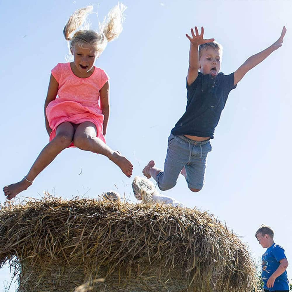 Barn som hopper i høy